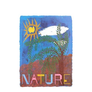 "Ben Shahn National Parks Nature 42"" X 28"" Poster 1974 Modernism Blue, Red For Sale"