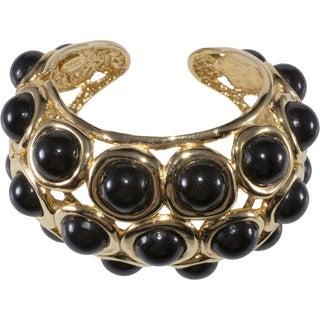 Kenneth Jay Lane Bracelet Hinged Cuff Black Cabochons Kjl Unmarked Vintage Huge For Sale