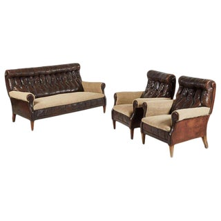 Leather and Hessian Sofa and Chairs Salon Set - 3 Pieces For Sale