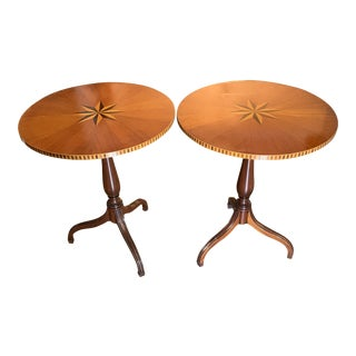 Art Deco Style Marquetry Inlaid Round Tables - a Pair For Sale