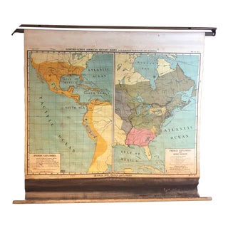 Vintage North & South America Pull Down Wall Map - Early Paper on Linen