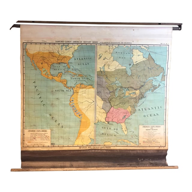 Vintage North & South America Pull Down Wall Map - Early Paper on Linen - Image 1 of 11
