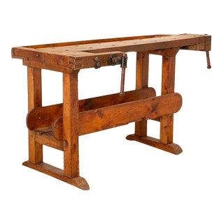 Vintage 5' Carpenter's Workbench Table From Denmark For Sale