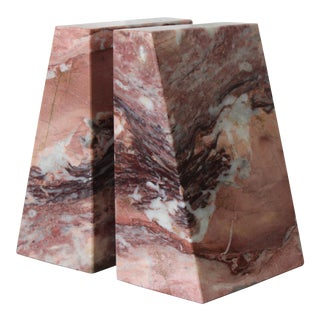 Vintage Pink Marble Bookends. - a Pair For Sale