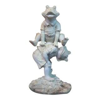 Vintage Weathered Fantasy Frog Statue