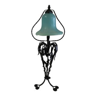 1990s Art Deco Style Iron Lamp with Art Glass Shade For Sale