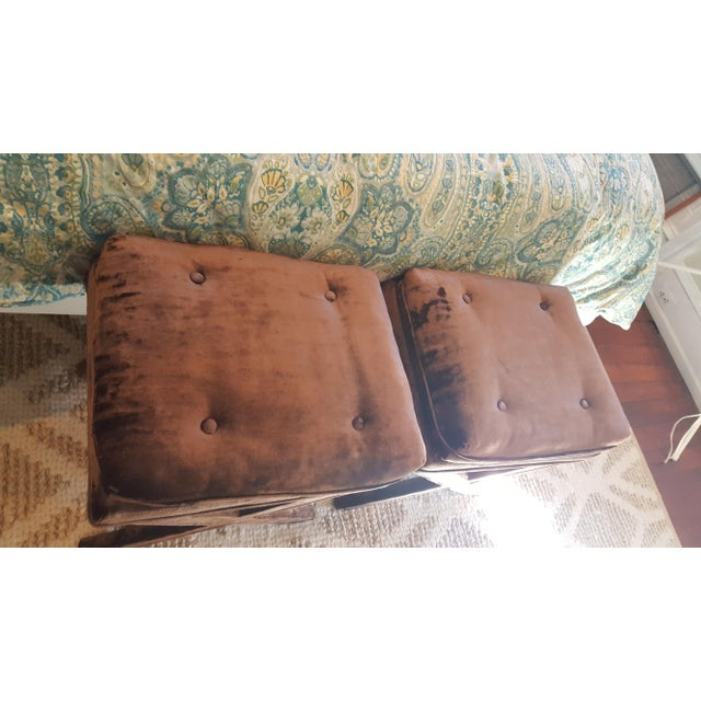 Brown Velvet X-Base Benches - A Pair - Image 4 of 4