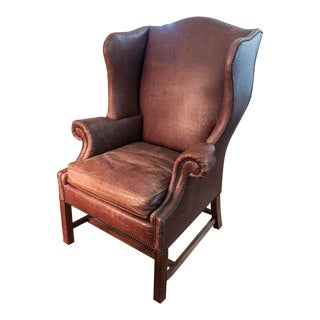 Mid Century Baker Furniture Embossed Crocodile Leather Wing Back Chair, Signed For Sale