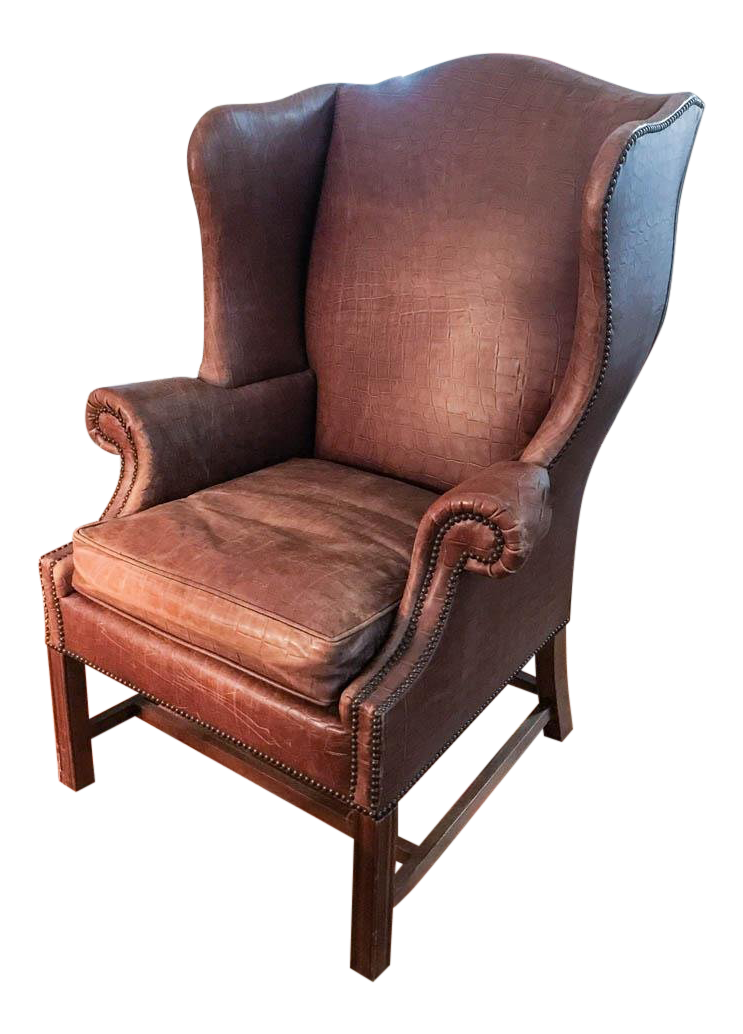 Mid Century Baker Furniture Embossed Crocodile Leather Wing Back Chair,  Signed
