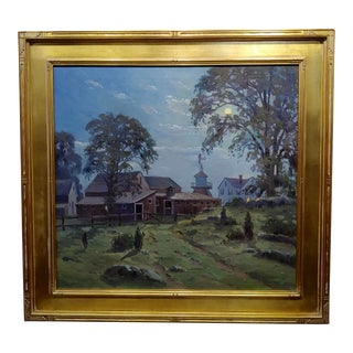 """Charles Gordon Harris """"Moonlight Over a Farm in Rhode Island"""" Oil Painting For Sale"""