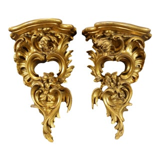 Early 20th Century Rococo Carved Wood Gilt Wall Shelf Bracket Consoles - A Pair For Sale