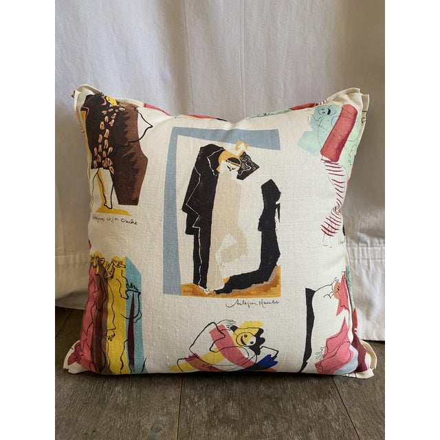 Pierre Frey Arlequins Vintage Custom Pillow With Butterfly Corners For Sale In Los Angeles - Image 6 of 6