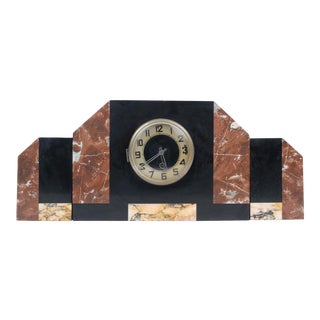 Art Deco Marble Mantle Clock and Two End Pieces For Sale