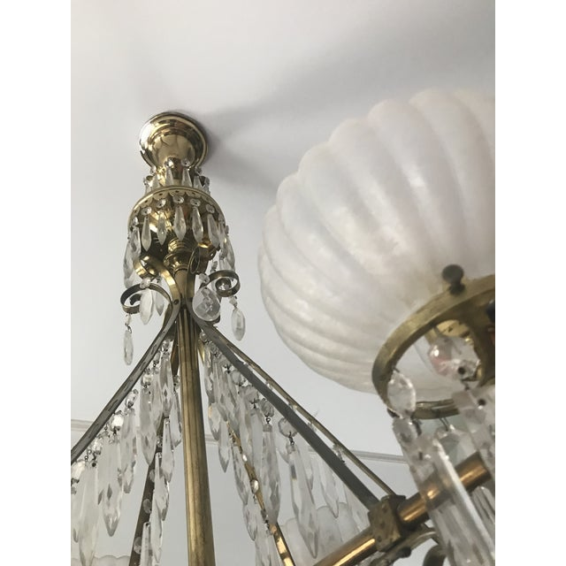 Brass Antique Brass & Crystal Chandelier For Sale - Image 7 of 10