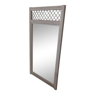 Vintage Henry Link White Wicker Mirror For Sale