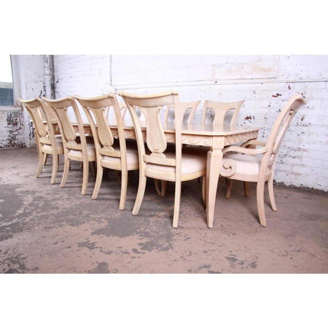 Bernhardt Bernhardt Mediterranean Style Carved Maple Dining Set With Ten Chairs For Sale - Image 4 of 13