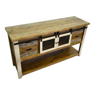 Crafters and Weavers Bayshore Sliding Door / 4 Drawer Console Table For Sale