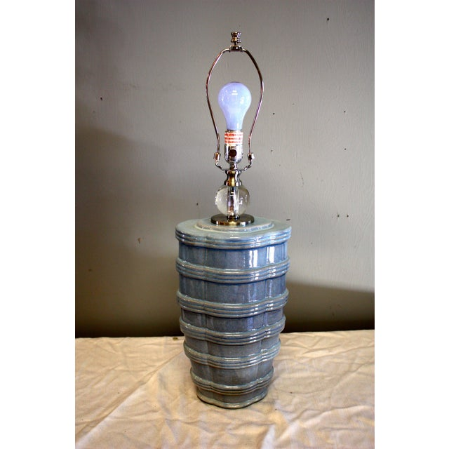Pair of Ribbed Soft Blue Lamp For Sale In New York - Image 6 of 7