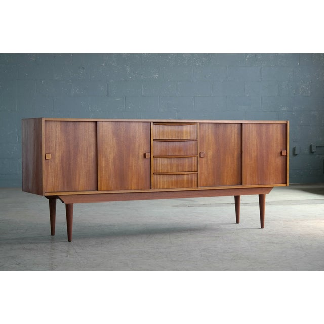 Wood Danish Mid-Century Low Teak Sideboard by Domino Møbler, 1960s For Sale - Image 7 of 11