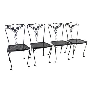 Vintage Wrought Floral Iron Patio Dining Side Chairs - Set of 4 For Sale