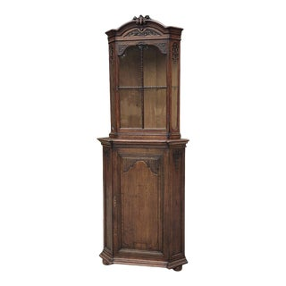 19th Century Country French Louis XIV Corner Cabinet ~ Vitrine For Sale
