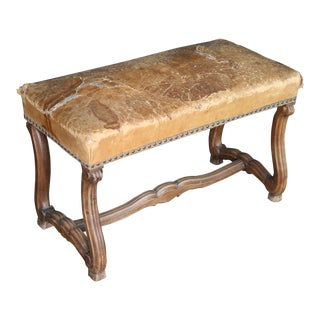 French Louis XV Style Bench With Old Leather Upholstered Seat