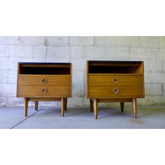 American of Martinsville Mid-Century Walnut Nightstands - A Pair - Image 5 of 7