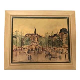 "Guy De Neyrac ""Place De La Republic"" Watercolor Painting"