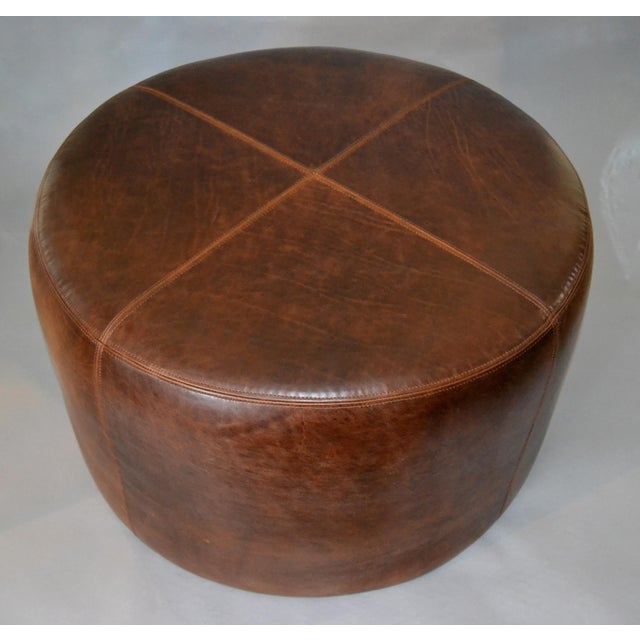2010s Modern Round Hand-Crafted Leather Ottoman, Pouf in Antique Leather, Contemporary For Sale - Image 5 of 13