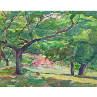 R. Johnson, Vintage English Watercolor - Summer's Shade at the Cottage in the Forest For Sale