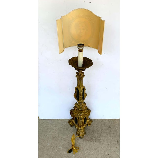 19th Century Italian Bronze Altar Candlestick, Custom Shade, Now Electrified For Sale - Image 11 of 13