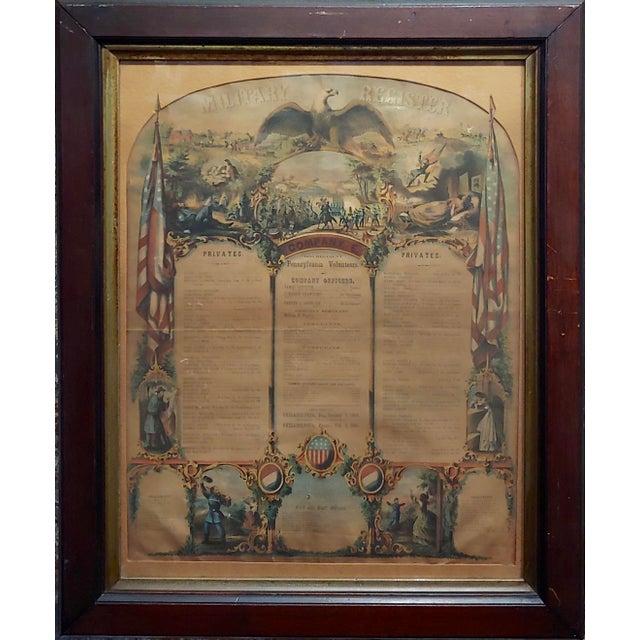 Civil War 1864 Military Register Pennsylvania Company E Manifesto original Paper Lithograph under glass & Framed frame...