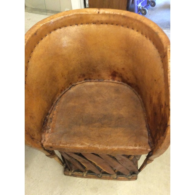 Barrel Table And Chairs For Sale: Vintage Mexican Equipale 4 Leather Barrel Chairs & Table