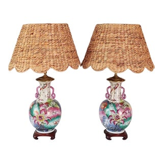 1980s Tobacco Leaf Ceramic Lamps With Scalloped Natural Fiber Lamp Shades - a Pair For Sale