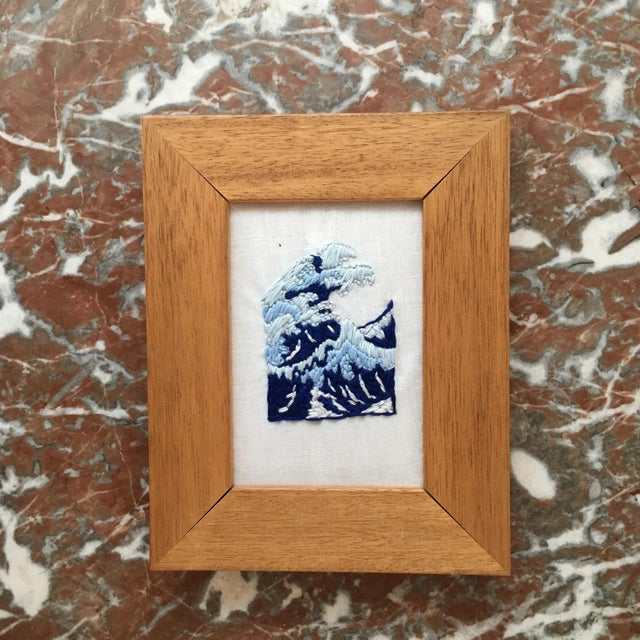 Japanese Wave Hand Embroidered Art in Wooden Frame - Image 2 of 4