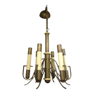 Italian Brutalist Brass and Bakelite Chandelier by Nucleo Forme For Sale
