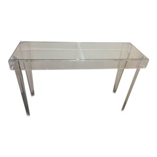 Lucite and Clear Glass Topped Rectangular Console Table - Floor Sample For Sale