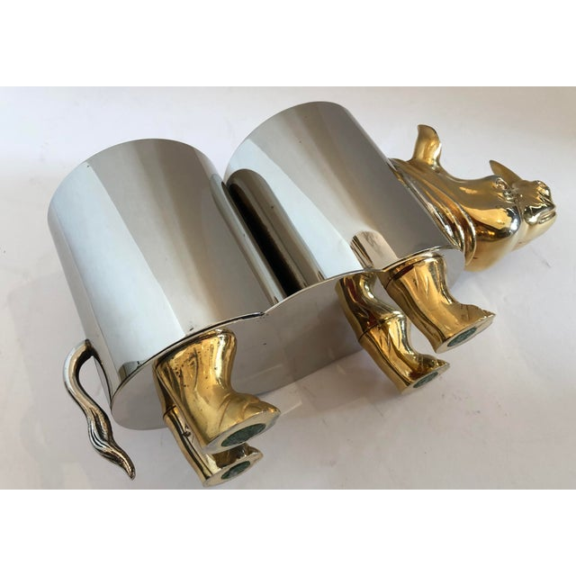 Italian Hollywood Regency Rhinoceros Double Bottle Cooler / Holder For Sale - Image 10 of 11