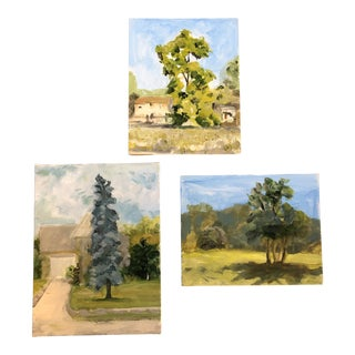 Gallery Wall Collection 3 Contemporary Impressionist Landscape Paintings- Set of 3 For Sale