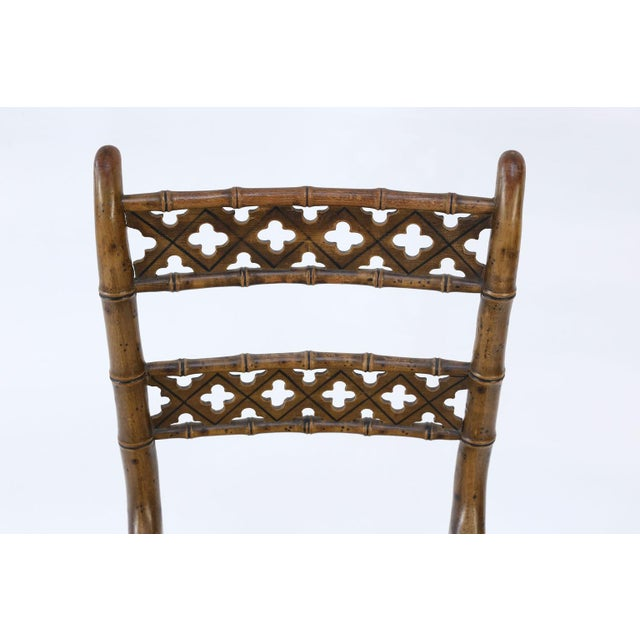 Early 19th Century Pair of Regency Faux Bamboo Chairs For Sale - Image 5 of 9