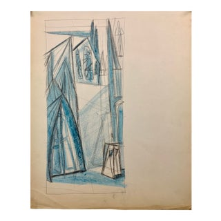 """Donald Stacy """"Landscape With Nuns"""" C.1950s Oil Pastel Mid Century Moma For Sale"""