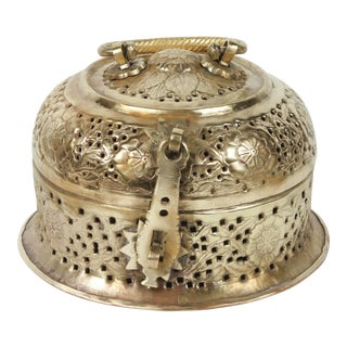 Early 20th Century Anglo-Indian Polished Brass Pierced Box For Sale