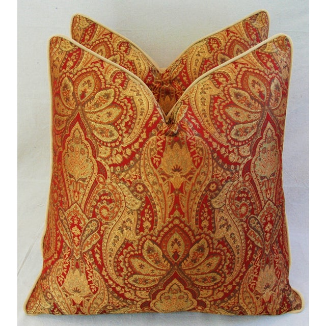 Custom French Jacquard & Velvet Pillows - A Pair - Image 4 of 10