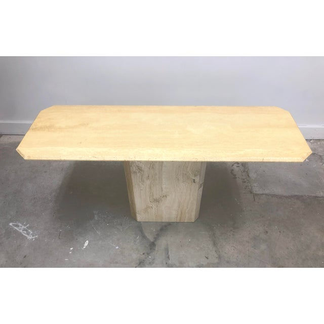 Italian Modern Beveled Travertine Console Table For Sale - Image 4 of 12