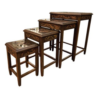 20th Century Traditional Carved Nesting Tables - Set of 4 For Sale