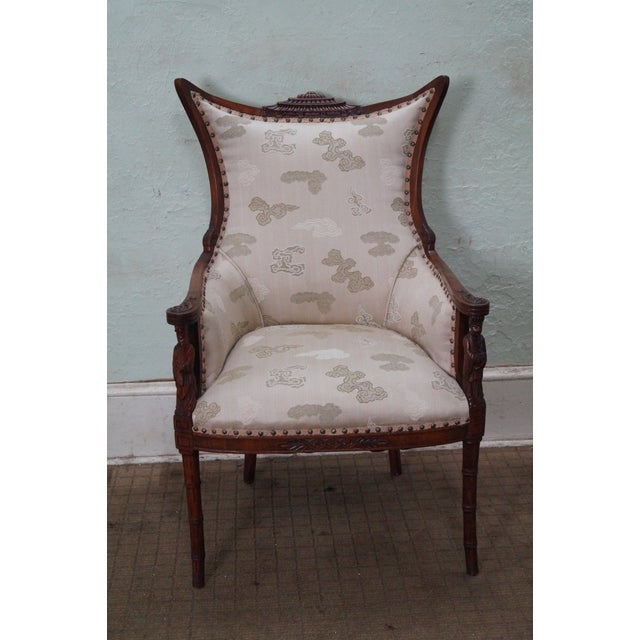Vintage Chinese Chippendale Style Wing Chair - Image 2 of 10