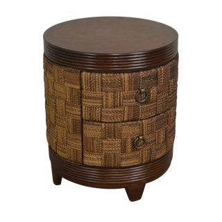 Tommy Bahama Style Round 2 Drawer Woven Rope Leather Top Side Table For Sale