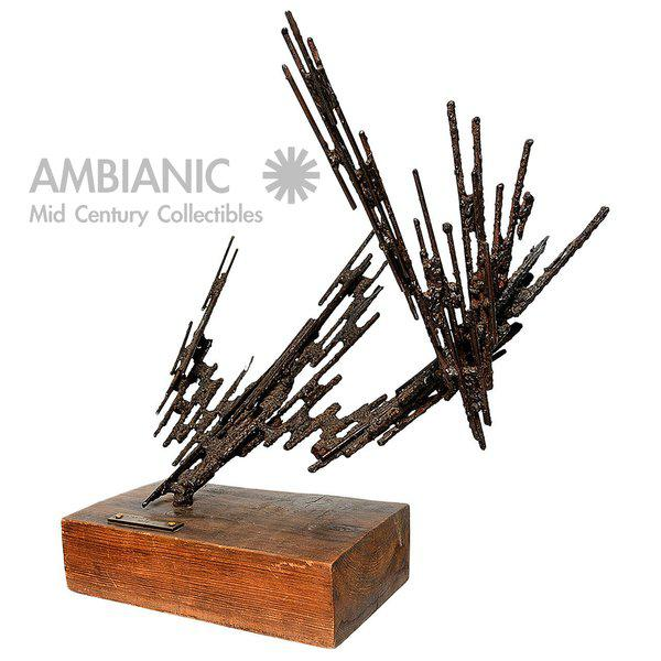 Brown 1977 Stanyo Kaminsky Brutalist Sculpture For Sale - Image 8 of 8