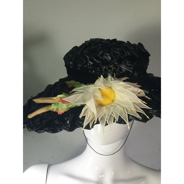 Mid-Century Modern 1940's Vintage Great Black Ribbon Hat With Amazing Silk Flower For Sale - Image 3 of 13