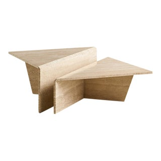 Tiered Two Piece Travertine Coffee Table For Sale